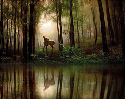 Natur DIY Puzzles, Baby Deer im Wald mit Reflexion auf Lake Foggy Woodland Grafik Holzpuzzles für Erwachsene, Beste Familien Dekompressionsspiele, Grüner Kakao19,7 * 31,5 Zoll 1000 Stk