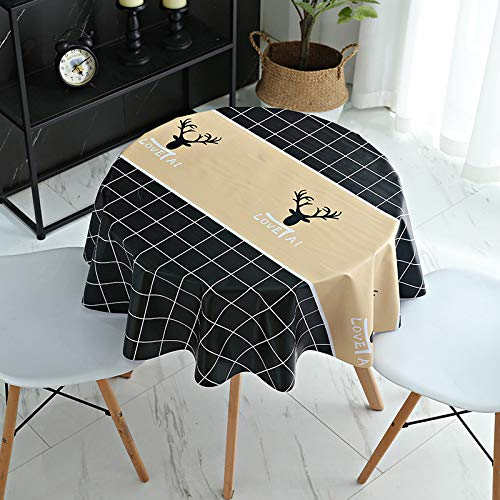 JIALIANG PVC Tischdecke Quadrat für Küche Esstisch Kunststoff Wischtuchreinigung Tischdecke für Indoor Outdoor Einfach zu säubern,HR-schwarz,90x140cm
