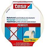 tesa Malerband PERFECT – Dünnes Abdeckband für präzises Abkleben im Innenbereich – aus ungekrepptem Spezialpapier – 50 m x 19 mm