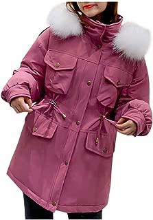 Womens Hooded Jacket Warm Winter Down Coats Thicken Drawstring Anoraks Parka Faux Fur Trim