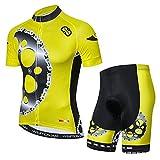 YouthRM Vêtements de Cyclisme Équipe pour Hommes Maillot de Vélo Club à Manches Courtes avec 3 Poches Arrière Chemise de Vélo D'été Réfléchissante Salopette Respirante à Séchage Rapide,Yellow,X