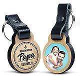 Premium Für den besten Papa der Welt - Foto-Schlüsselanhänger aus Eichenholz mit Gravur und kratzfestem Foto in Farbe