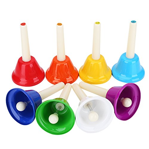 Campanas de Mano, Metal de 8 Notas Campanas de Mano Juego de Instrumentos Musicales Coloridos para Instrumentos de percusión para niños