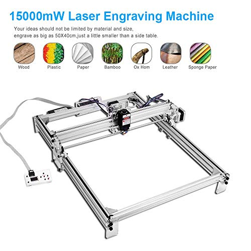 Kacsoo CNC lasergraveermachine DIY kit, desktop router houtsnijwerk gravure snijmachine, 12 V USB-printer logo afbeelding markers voor leer hout kunststof 15000mW 50x40