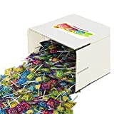 Zazers Heart Lollipops Bulk, Box of 250 Individually Wrapped Suckers - Multicolored Flat Lollipops in Assorted Tutti-Frutti Flavors - Kosher Lollipops Candy Giveaway for Birthdays Parties and More