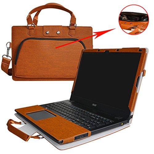 Aspire E 15 Case,2 in 1 Accurately Designed Protective PU Leather Cover + Portable Carrying Bag for 15.6' Acer Aspire E 15 E5-575 E5-575G E5-533 E5-533G Series Laptop,Brown