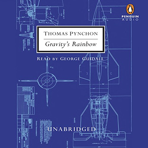 Gravity's Rainbow                   By:                                                                                                                                 Thomas Pynchon,                                                                                        Frank Miller (cover design)                               Narrated by:                                                                                                                                 George Guidall                      Length: 37 hrs and 21 mins     628 ratings     Overall 4.0