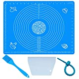 Non-Stick and No-Slip Silicone 19.7''x15.8'' Baking Pastry Mat 50x40cm Fondant Mat Dough Rolling Mat+ Pastry Brush +Dough Scraper Cutter +Reusable Wrapping Tie (Blue)