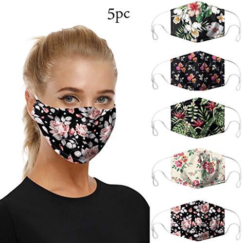 5 Stück Mundschutz Multifunktionstuch Schlauchtuch, Fashion Unisex Kopftuch Stirnband Halstuch Wiederverwendbare und waschbare, Radfahren, Skifahren, Outdoor-Aktivitäten Face Shield (5 Pack)