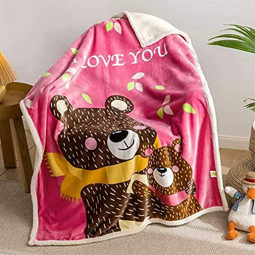 Manta de forro polar para bebé, suave y cálida siesta, manta fina de terciopelo coral de dibujos animados, para cama, sofá, silla, cuna y sala de estar (Love You)