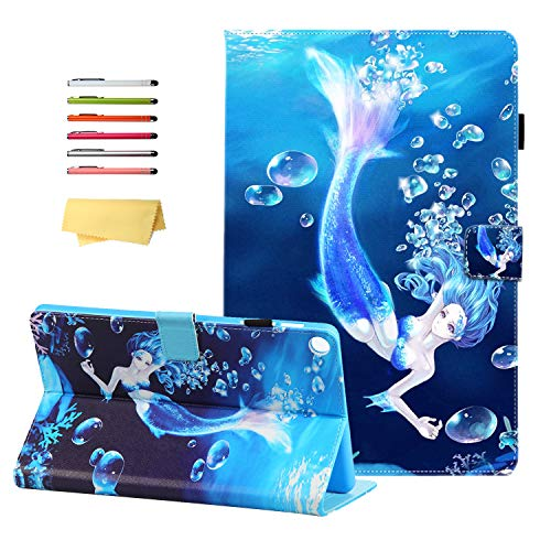 Tab A 10.1 inch 2019 Case T510 with Pencil Holder, UUcovers Multi-Angle Viewing Folio Stand PU Leather TPU Magnetic Cover for Samsung Galaxy Tab A 10.1 Tablet (SM-T510/T515/T517), Blue Fish Mermaid