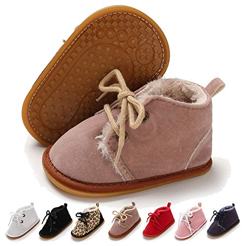 LAFEGEN Newborn Baby Booties Boys Girls Shoes Warm Winter Faux Fur Lining Non-Slip Lace Up Infant Toddler First Walker Crib Boots, Baby Shoes 12-18 Months Toddler, 01 Light Purple