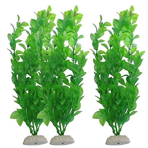 Fagu Decoración de Acuario Planta de césped de plástico Artificial Verde Adorno...