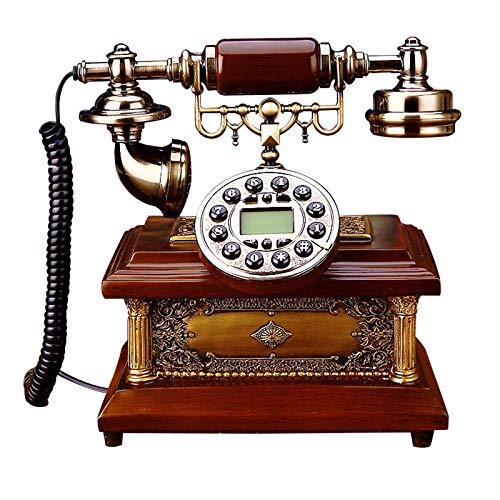 GERUOLA Retro Vintage Telefon,Antike Festnetz Telefon,Europäisches Cable Telefon,Tastenwahl Klassisches Schreibtisch Telefon,Massivholz,Anrufer-ID Mit Blauem Bildschirm Und Hintergrundbeleuchtung