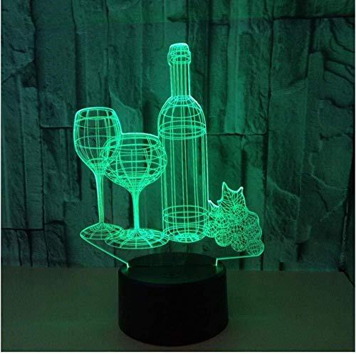 Kleurrijke touch geleid nachtlampje 3D illusie USB-sfeer tafellamp voor kinderen baby kinderen cadeau nacht slaapkamer wijn mok fles kerst