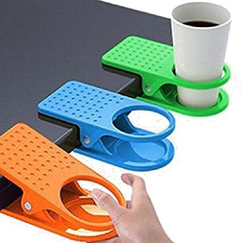 Kingken 2 clips de plástico útiles en la mesa clip soporte de taza abrazadera accesorios (color al azar)
