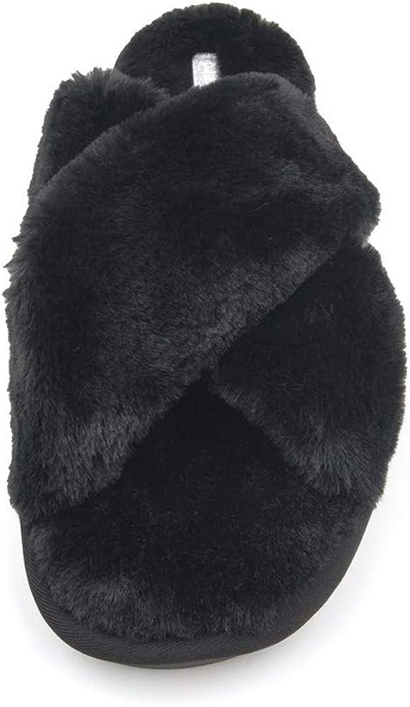 Asverd Women Cross Band Fuzzy Slippers 1901