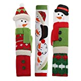 VIPITH 3 Packs Snowman Kitchen Appliance Handle Covers, Christmas Decorations for Door Refrigerator Microwave Oven