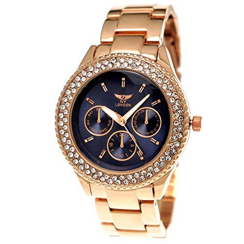 Ny London Damen-Uhr Strass Analog Quarz Armband-Uhr in Rose-Gold Blau Chronograph Optik Uhr