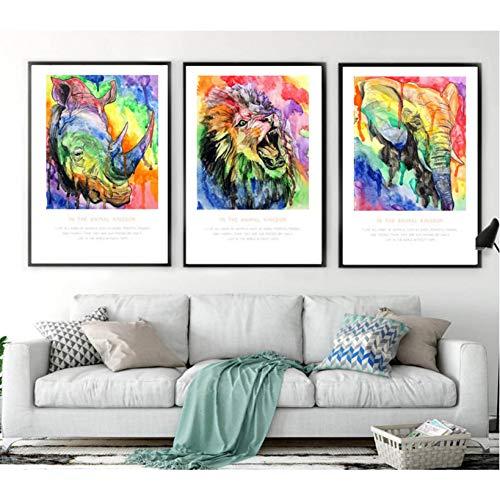 VNKLUCF Aquarell Nashorn Elefant Löwe Kunst geschrieben 3 Stück Leinwand Gemälde Sprühbilder auf Leinwand ohne Rahmen gemalt
