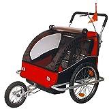 Tiggo Kinderfahrradanhänger Fahrradanhänger Jogger 2in1 Anhänger Kinderanhänger JBT03A-D01 rot