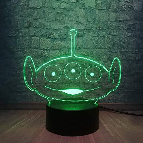 LED 3D Ilusión Deco LED Lámpara Alien lámpara de escritorio creativa para cumpleaños Con interfaz USB, cambio de color colorido