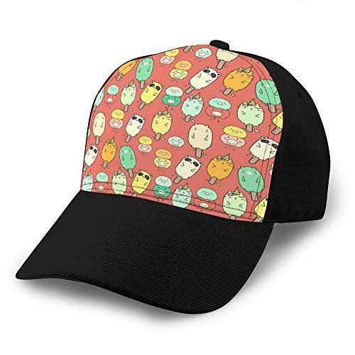 Baseball-Cowboyhut für Erwachsene, verstellbar, mit niedlichem Tiermotiv, nahtloses Muster, Golfhüte