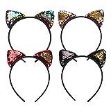 WENTS Katze Ohren Stirnbänder Haarband Glitter Bling Sparkle Fancy Dress für Kinder Erwachsene Cosplay Geburtstagsfeier Tasche Füllstoffe
