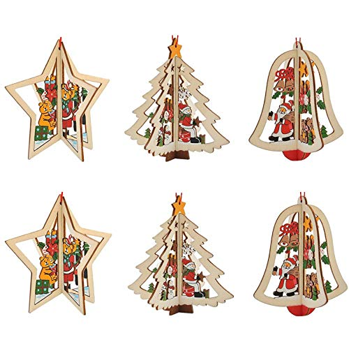 Etern 6 Pieces Wooden Christmas Tree Decoration, Christmas Tree Hanging Ornaments Set, Hanging Ornaments Christmas Decor, for Christmas Tree, Window, Ceiling