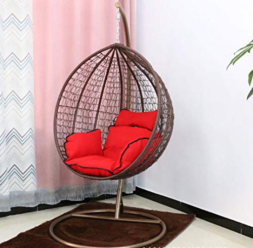 Afjyar Indoor leisure chair outdoor hanging basket wicker chair adult hanging chair swing single hanging blue chair balcony rocking chair brown