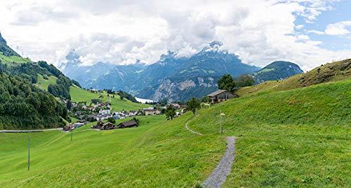 Freaiaqy Kreuzstich,Stickerei Kreuzstich Kit Set-Alpen Schweiz Dorf Ingenbohl Trail Natur Berge-Erwachsene Set Kunst Handwerk DIY Handarbeit Stickpackung 11ct40x50cm