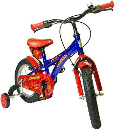 Bici Bicicletta per Bambino (SPIDER 14' 4 ANNI+) GMT BabyKidBike-d Evita Cadute al tuo Bimbo-a con de-stabilizzatori (Smart Training Wheels). Rotelle per bicicletta bambino. Sistema di apprendimento a doppia regolazione Brevetto MONDIALE Distribuzione esclusiva.