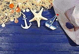 GooEoo 夏休み海洋テーマ木板ダークブルーの背景10×7フィートビニール写真の背景釣りネット貝殻アンカーヒトデヨット女性の帽子シーサイド休暇