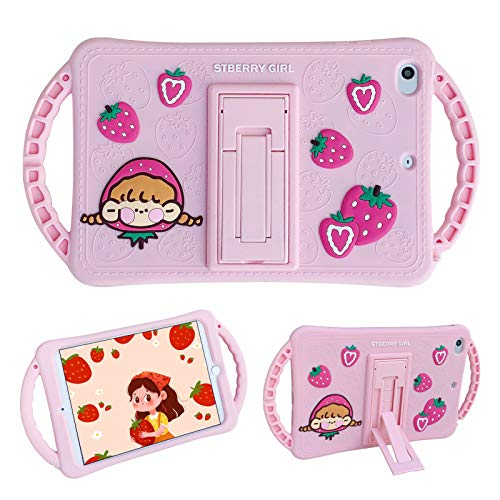 SGVAHY Cute iPad Case Compatible with iPad 2/3/4(9.7 inch),Soft Silicone Fun 3D Cartoon Strawberry Design Handle Built in Kickstand Shockproof Protective Cover Case (Pink)