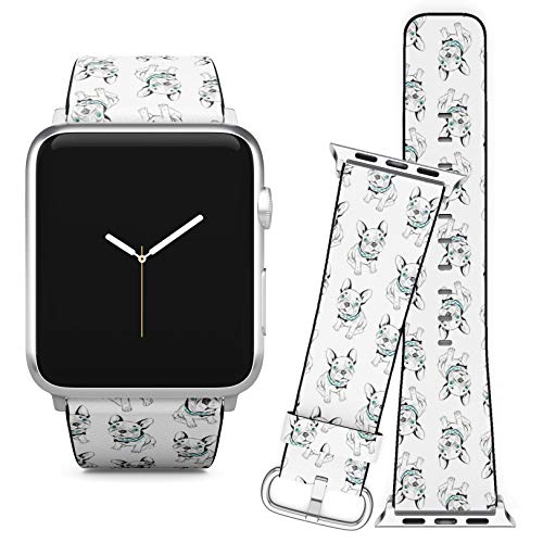 Compatible with Apple Watch (38/40 mm) Series 5, 4, 3, 2, 1 // Leather Replacement Bracelet Strap Wristband + Adapters // French Bulldog