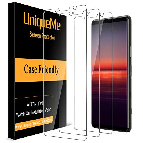 UniqueMe [3 Stück] Panzerglas für sony xperia 5 ii Schutzfolie,[9H-Festigkeit] [Anti-Bläschen] [Anti-Kratzen] HD klar Folie Bildschirmschutz Gehärtetes Glas
