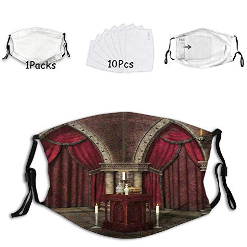 1 mask with 10 filters Activated carbon mask Facial decorations for adults Mysterious Dark Room in Castle Ancient Pillars Candles Anci