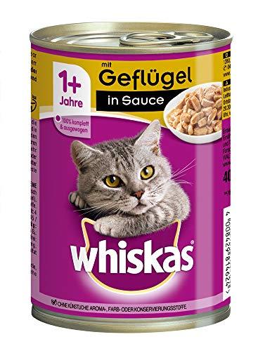 Whiskas Katzenfutter Nassfutter Adult 1+ mit Lachs in Gelee, 12 Dosen (12 x 400g)