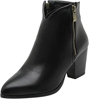 Women Autumn Retro Pointed Toe Thick High Heel Boots Fashion Zipper Ankle Boots Large Size