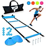 Pro Agility Ladder and Cones - 15 ft Fixed-Rung Speed Ladder with 12 Disc Cones for Soccer, Football, Sports, Exercise, Workout, Footwork Training - Includes 4 Stakes and Heavy Duty Carry Bag (Blue)