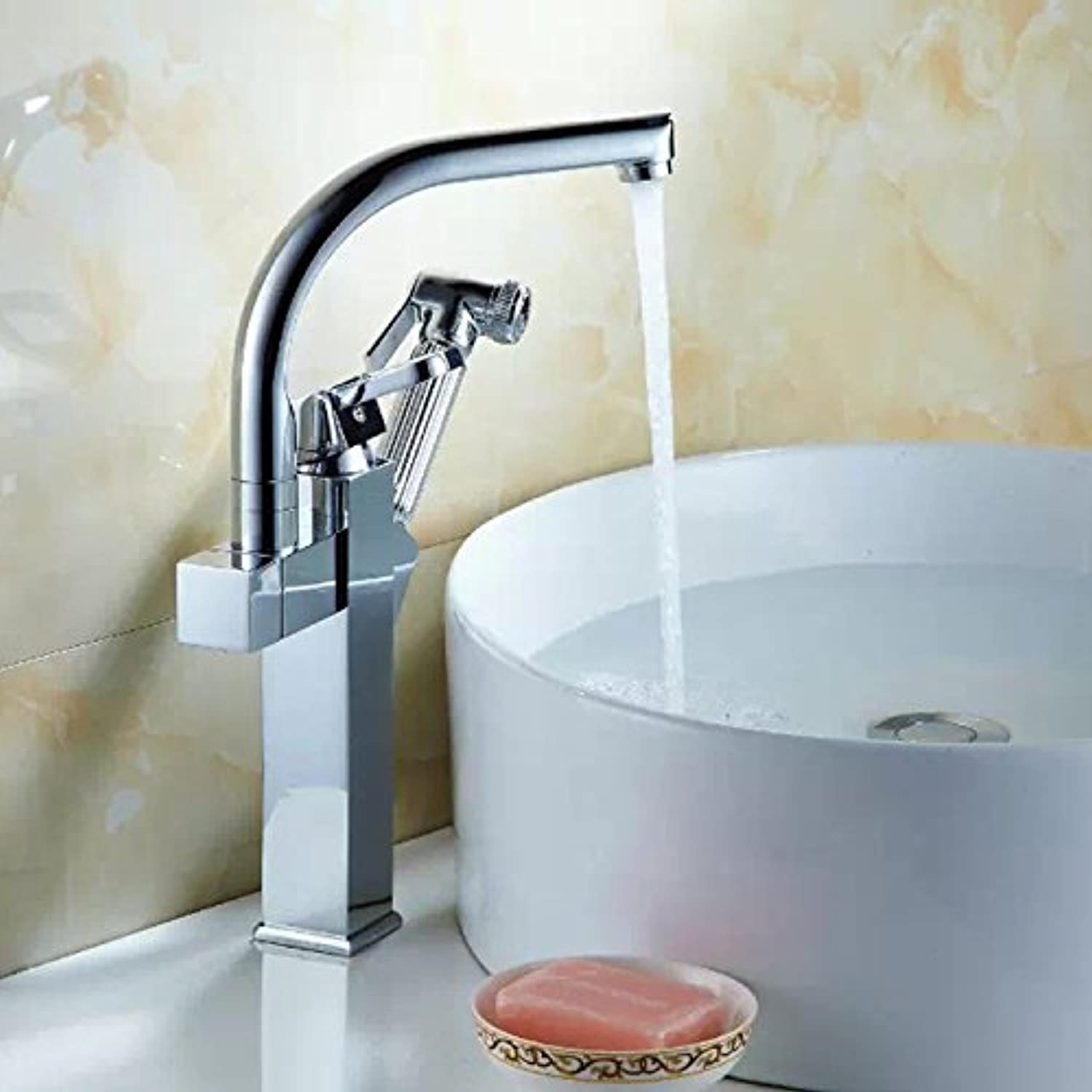 Commercial Single Lever Pull Down Kitchen Sink Faucet Brass Constructed Polished Kitchen Faucet, Single Tap, Full Copper Hot and Cold Water Mixer