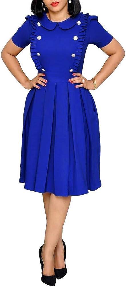 OLUOLIN Women's Elegant Flounce Ruffled Wear to Work Business Short Sleeve Button Decoration Ruffle Hem Pleated Midi Dress