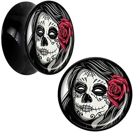 Davitu Body Jewelry 1 Pair Katrina Sugar Skull with Rose Acrylic Saddle Ear Plug Gauges Tunnel product image