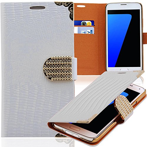 Preisvergleich Produktbild numerva kompatibel mit Samsung Galaxy S2 Hülle Strass Schutzhülle Galaxy S2 Handytasche Glitzer Weiss