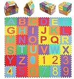 StillCool Puzzle Alfombrilla con Alfabeto para niños, 36 Piezas de Alfombra de Goma Espuma EVA Suave con 0 a 9 y 26 Letras