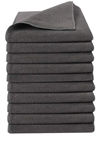 Home-Tex Premium Mikrofaser-Putztuch | Extra Saugstark 300 g/m² | Hochwertiges Microfaser Reinigungstuch für Auto und Haushalt (40 x 40 cm | 10er Set, Grau)