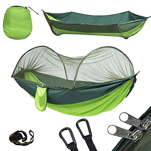 Yoomo Camping Hammock, Portable Lightweight Parachute Nylon Hammock with Tree Straps for Backpacking, Camping, Travel, Beach, Garden(Green)