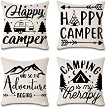 Faromily Happy Camper Quotes Throw Pillow Covers Farmhouse Decorative Arrows Camper Mountain Tree Cushion Covers Country Style Cotton Linen 18 x 18 inch Set of 4