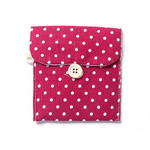 JIALONGZI Dot Katoen Linnen Sanitair Pad Bag Herbruikbare Sanitair Servet Opslag Pocket Wasbaar Menstrual Handdoek Pad Pocket Bag, Rood