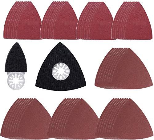 Placa de Lijado Triángular con Dedo de Lijado Compatible con Bosch, Dre-mel, Chicago, Ma-kita Lijadora Excéntrica Herramienta Multifunción (grano 40 80 120 180 240) 66 Piezas Poweka